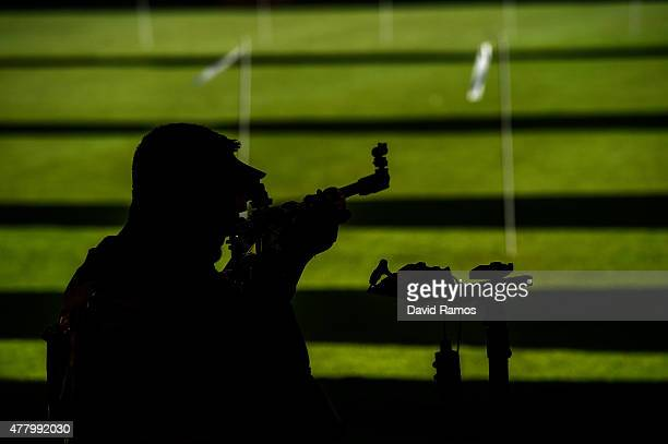 Marco de Nicolo of Italy competes in the Men's Rifle Shooting 3 positions Qualification Round during day nine of the Baku 2015 European Games at the...