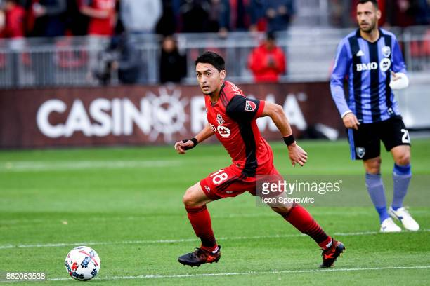 Marco Delgado of Toronto FC passes the ball during the first half of the MLS Soccer regular season game between Toronto FC and Montreal Impact on...