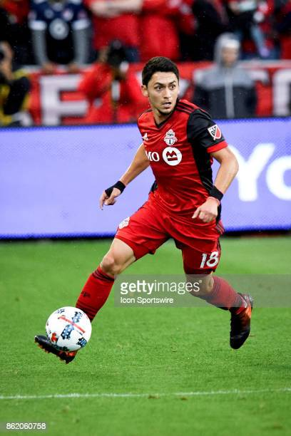 Marco Delgado of Toronto FC runs with the ball during the first half of the MLS Soccer regular season game between Toronto FC and Montreal Impact on...