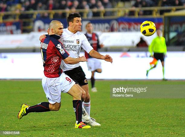 Marco Di Vaio captain of Bologna competes with Sinisa Andelkovic of Palermo during the Serie A match between Bologna and Palermo at Stadio Renato...