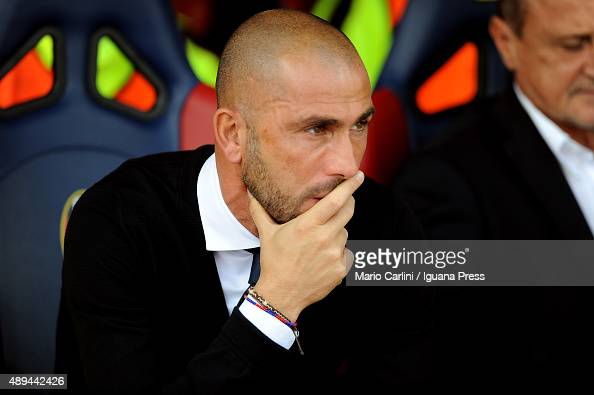 Marco Di Vaio team manager of Bologna FC looks on prior the beginning of the Serie A match between Bologna FC and Frosinone Calcio at Stadio Renato...