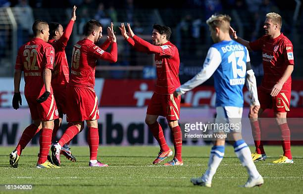 Marco Djuricin of Regensburg celebrates scoring the first goal during the Second Bundesliga match between VfL Bochum and SSV Jahn Regensburg at...