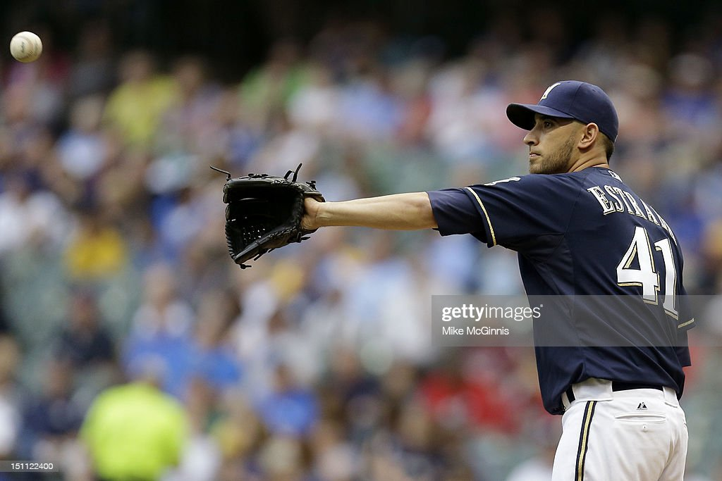 Marco Estrada #41 of the Milwaukee Brewers pitches against the Pittsburgh Pirates during the game at Miller Park on September 01, 2012 in Milwaukee, Wisconsin.