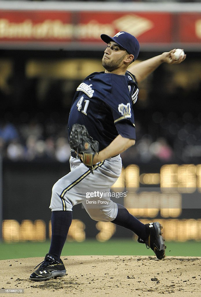 Marco Estrada #41 of the Milwaukee Brewers pitches during the first inning of a baseball game against the San Diego Padres at Petco Park on April 24, 2013 in San Diego, California.