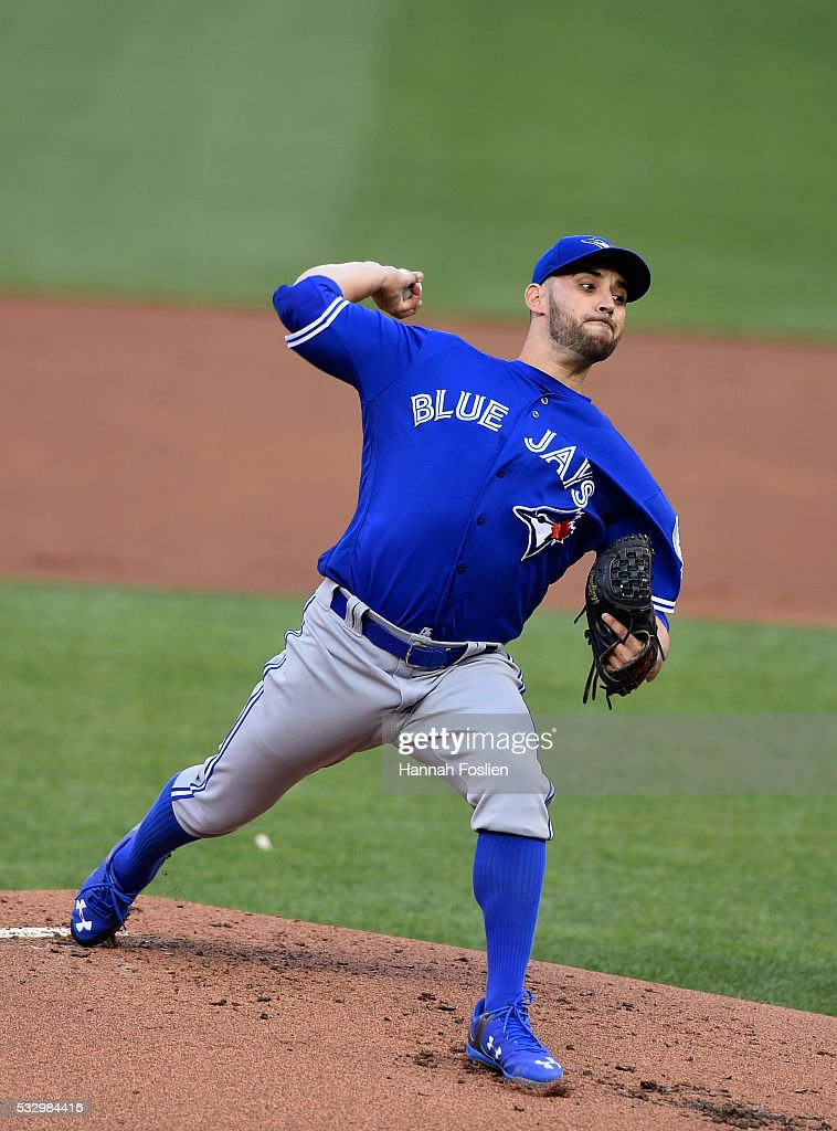 Marco Estrada #25 of the Toronto Blue Jays delivers a pitch against the Minnesota Twins during the first inning of the game on May 19, 2016 at Target Field in Minneapolis, Minnesota.