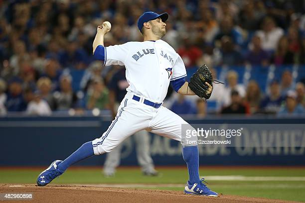 Marco Estrada of the Toronto Blue Jays delivers a pitch in the first inning during MLB game action against the Minnesota Twins on August 4 2015 at...