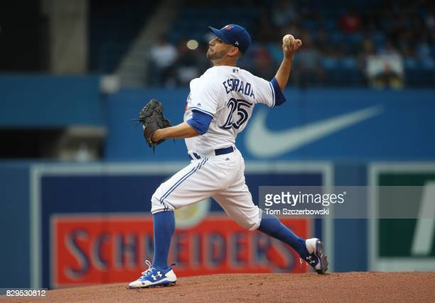 Marco Estrada of the Toronto Blue Jays delivers a pitch in the first inning during MLB game action against the New York Yankees at Rogers Centre on...