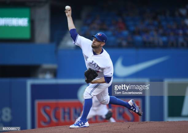 Marco Estrada of the Toronto Blue Jays delivers a pitch in the first inning during MLB game action against the Tampa Bay Rays at Rogers Centre on...