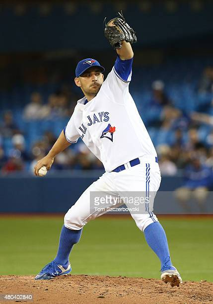 Marco Estrada of the Toronto Blue Jays delivers a pitch in the seventh inning during MLB game action against the Baltimore Orioles on June 19 2015 at...