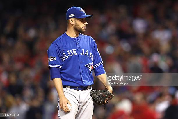 Marco Estrada of the Toronto Blue Jays looks on from the mound in the first inning against the Cleveland Indians during game one of the American...