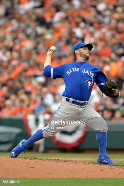 Marco Estrada of the Toronto Blue Jays pitches against the Baltimore Orioles on Opening Day at Oriole Park at Camden Yards on April 3 2017 in...