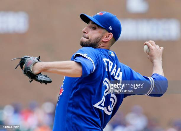 Marco Estrada of the Toronto Blue Jays pitches against the Detroit Tigers during the third inning at Comerica Park on July 16 2017 in Detroit Michigan