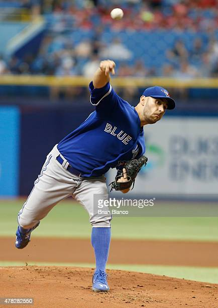 Marco Estrada of the Toronto Blue Jays pitches during the first inning of a game against the Tampa Bay Rays on June 24 2015 at Tropicana Field in St...
