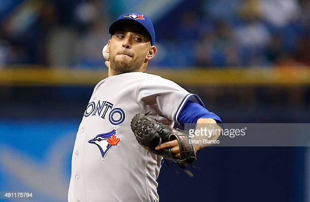 Marco Estrada of the Toronto Blue Jays pitches during the first inning of a game against the Tampa Bay Rays on October 3 2015 at Tropicana Field in...