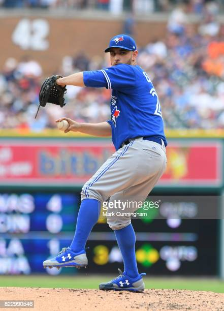 Marco Estrada of the Toronto Blue Jays pitches during the game against the Detroit Tigers at Comerica Park on July 16 2017 in Detroit Michigan The...
