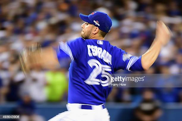 Marco Estrada of the Toronto Blue Jays pitches in the eighth inning against the Kansas City Royals during game five of the American League...