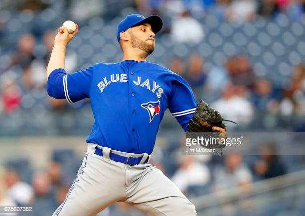 Marco Estrada of the Toronto Blue Jays pitches in the first inning against the New York Yankees at Yankee Stadium on May 1 2017 in the Bronx borough...