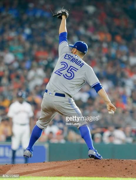 Marco Estrada of the Toronto Blue Jays pitches in the first inning against the Houston Astros at Minute Maid Park on August 5 2017 in Houston Texas