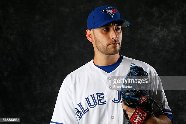 Marco Estrada of the Toronto Blue Jays poses for a photo during the Blue Jays' photo day on February 27 2016 in Dunedin Florida