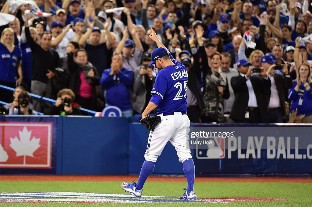 Marco Estrada of the Toronto Blue Jays reacts as he is relieved in the eighth inning against the Kansas City Royals during game five of the American...