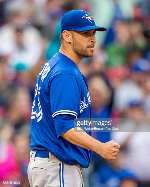 Marco Estrada of the Toronto Blue Jays reacts during the seventh inning of a game against the Boston Red Sox on June 5 2016 at Fenway Park in Boston...