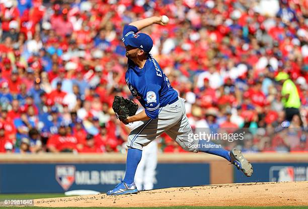 Marco Estrada of the Toronto Blue Jays throws a pitch against the Texas Rangers during the first inning in game one of the American League Divison...