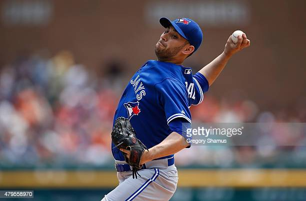 Marco Estrada of the Toronto Blue Jays throws a pitch in the first inning against the Detroit Tigers at Comerica Park on July 5th 2015 in Detroit...