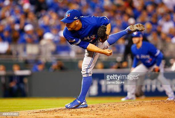 Marco Estrada of the Toronto Blue Jays throws a pitch in the first inning against the Kansas City Royals during game one of the American League...