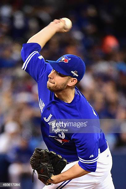 Marco Estrada of the Toronto Blue Jays throws a pitch in the first inning against the Kansas City Royals during game five of the American League...