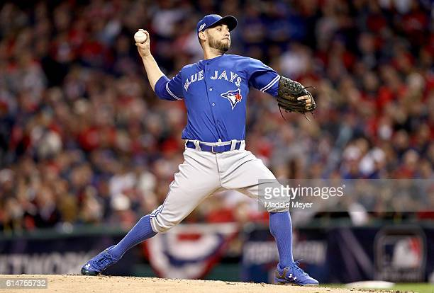 Marco Estrada of the Toronto Blue Jays throws a pitch in the first inning against the Cleveland Indians during game one of the American League...