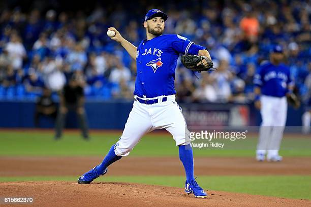 Marco Estrada of the Toronto Blue Jays throws a pitch in the first inning against the Cleveland Indians during game five of the American League...