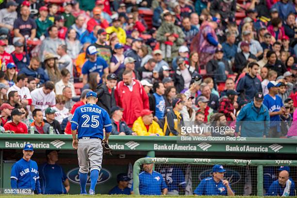 Marco Estrada of the Toronto Blue Jays walks toward the dugout during the sixth inning of a game against the Boston Red Sox on June 5 2016 at Fenway...