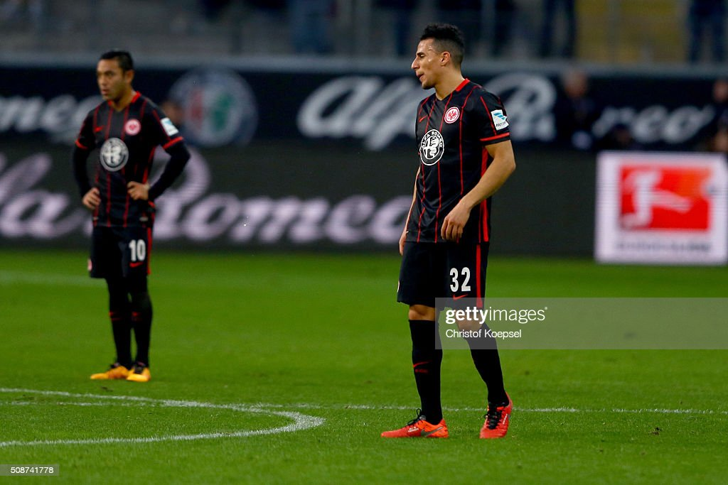 <a gi-track='captionPersonalityLinkClicked' href=/galleries/search?phrase=Marco+Fabian&family=editorial&specificpeople=5477014 ng-click='$event.stopPropagation()'>Marco Fabian</a> and Aenis Ben-Hatira of Frankfurt look dejected after the Bundesliga match between Eintracht Frankfurt and VfB Stuttgart at Commerzbank-Arena on February 6, 2016 in Frankfurt am Main, Germany. The match between Frankfurt and Stuttgart ended 2-4.