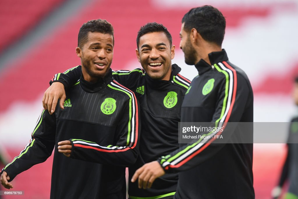 Marco Fabian and Giovani dos Santos during the Mexico Training and Press Conference on June 17, 2017 in Kazan, Russia.