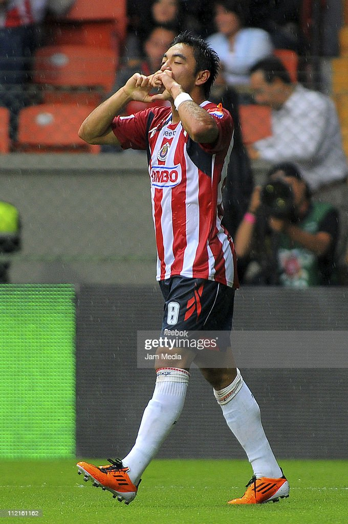 Marco Fabian de la Mora of Chivas celebrates a scored goal during a match against Toluca as part of the Clausura Tournament in the Mexican Football...