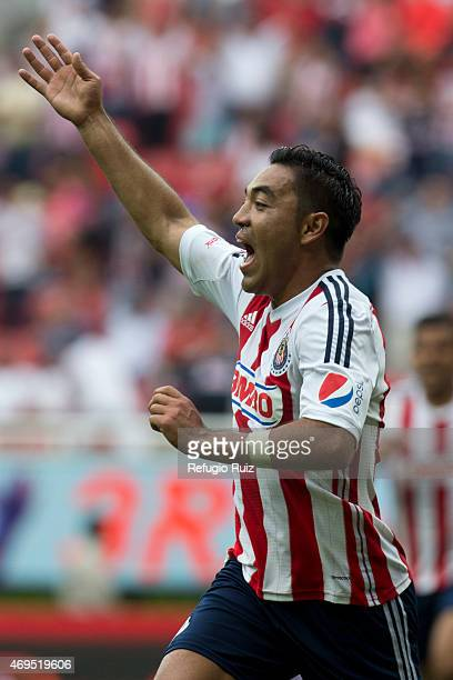 Marco Fabian de la Mora of Chivas celebrates after scoring the opening goal during a match between Chivas and Leon as part of 13th round of Clausura...