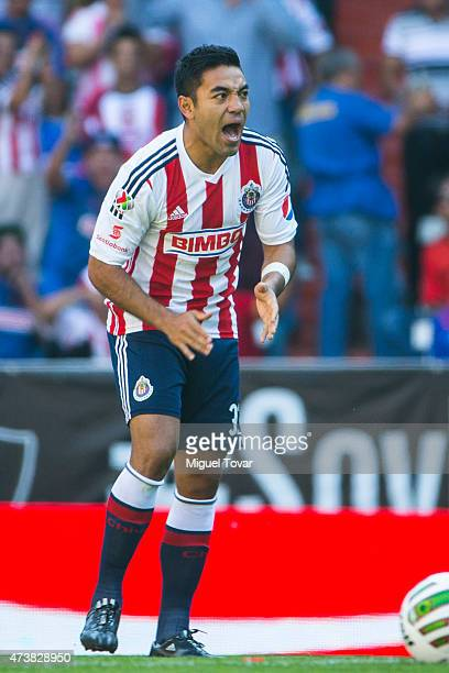 Marco Fabian of Chivas celebrates after scoring during a quarterfinal second leg match between Atlas and Chivas as part of Clausura 2015 Liga MX at...