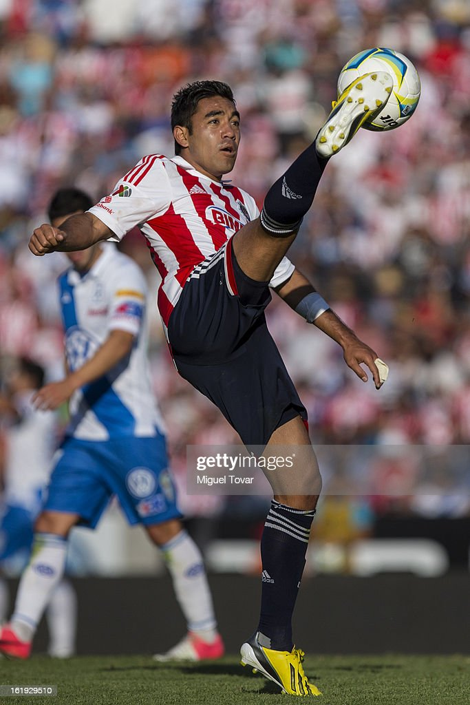 Marco Fabian of Chivas controls the ball during a match between Puebla and Chivas as part of the Clausura 2013 at Cuauhtemoc Stadium on February 17, 2013 in Puebla, Mexico.