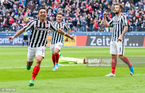Marco Fabian of Frankfurt celebrates the second goal for his team during the Bundesliga match between Eintracht Frankfurt and FC Augsburg at...