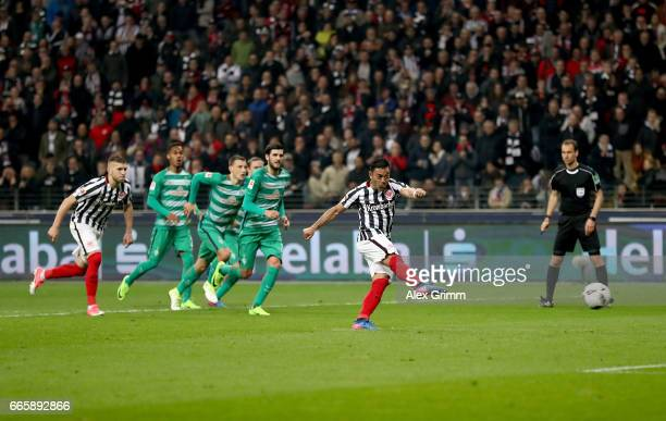 Marco Fabian of Frankfurt cores his team's 2nd goal by penalty kick during the Bundesliga match between Eintracht Frankfurt and Werder Bremen at...