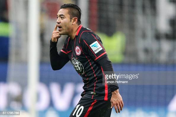 Marco Fabian of Frankfurt reacts during the Bundesliga match between Eintracht Frankfurt and Hamburger SV at CommerzbankArena on February 19 2016 in...