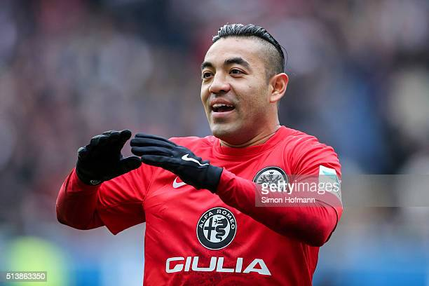 Marco Fabian of Frankfurt reacts during the Bundesliga match between Eintracht Frankfurt and FC Ingolstadt at CommerzbankArena on March 5 2016 in...