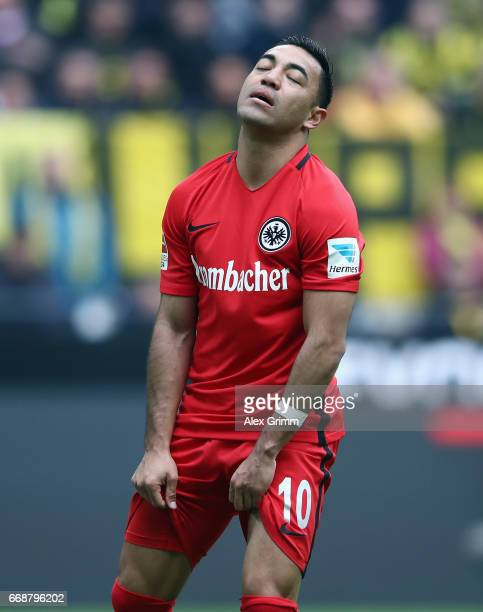 Marco Fabian of Frankfurt reacts during the Bundesliga match between Borussia Dortmund and Eintracht Frankfurt at Signal Iduna Park on April 15 2017...
