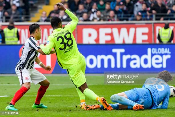 Marco Fabian of Frankfurt scores the first goal for his team during the Bundesliga match between Eintracht Frankfurt and FC Augsburg at...