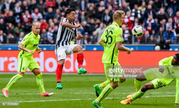 Marco Fabian of Frankfurt sores the second goal for his team during the Bundesliga match between Eintracht Frankfurt and FC Augsburg at...