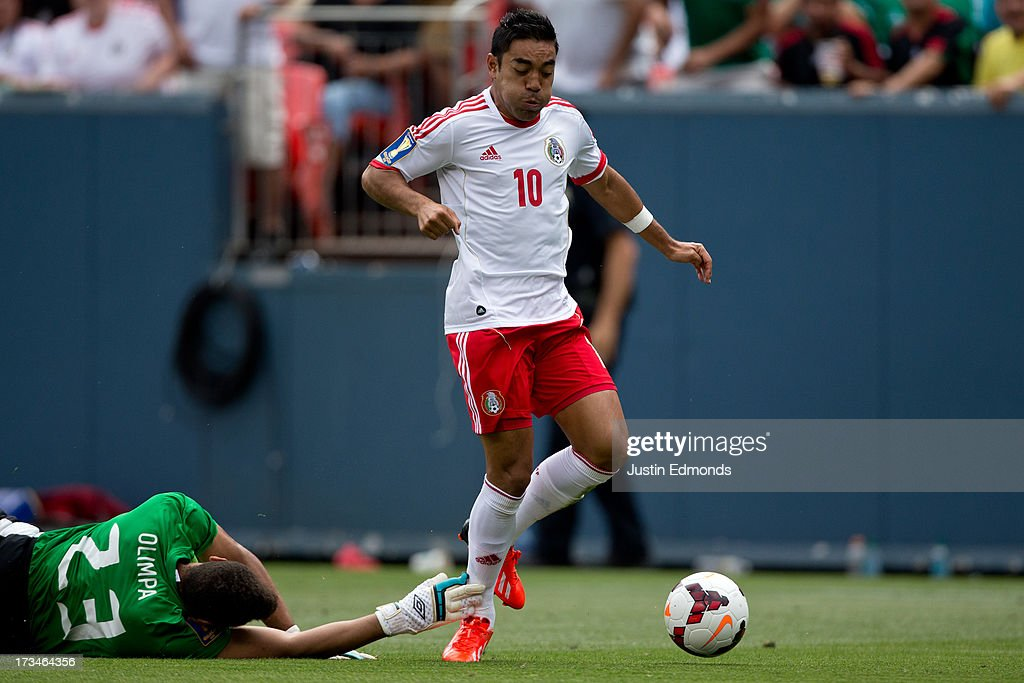 <a gi-track='captionPersonalityLinkClicked' href=/galleries/search?phrase=Marco+Fabian&family=editorial&specificpeople=5477014 ng-click='$event.stopPropagation()'>Marco Fabian</a> #10 of Mexico gets the ball touched away by goalkeeper <a gi-track='captionPersonalityLinkClicked' href=/galleries/search?phrase=Kevin+Olimpa&family=editorial&specificpeople=5605315 ng-click='$event.stopPropagation()'>Kevin Olimpa</a> #23 of Martinique during the first half of a CONCACAF Gold Cup match at Sports Authority Field at Mile High on July 14, 2013 in Denver, Colorado.