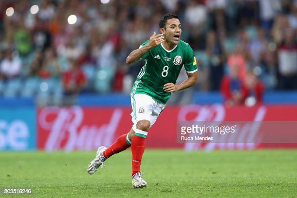 Marco Fabian of Mexico reacts after scoring his side's first goal during the FIFA Confederations Cup Russia 2017 SemiFinal between Germany and Mexico...
