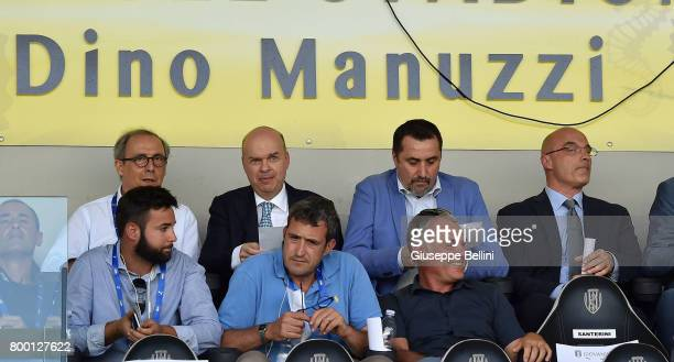 Marco Fassone and Massimiliano Mirabelli of AC Milan prior the U16 Serie A Final match between AS Roma and AC Milan on June 23 2017 in Cesena Italy
