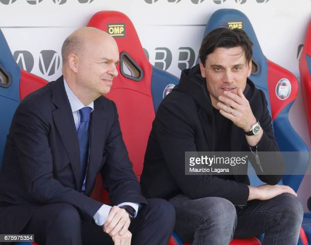 Marco Fassone and Vincenzo Montella of Milan during the Serie A match between FC Crotone and AC Milan at Stadio Comunale Ezio Scida on April 30 2017...