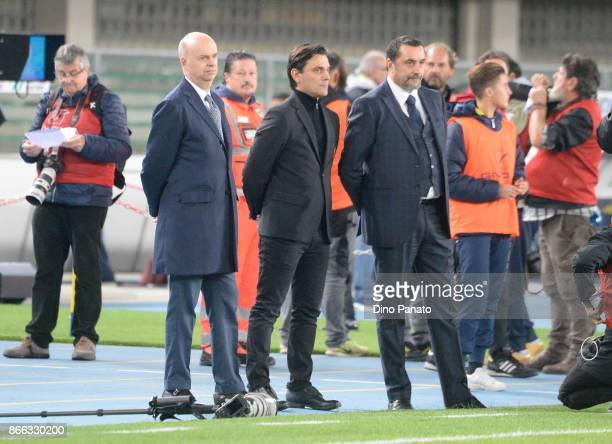 Marco Fassone Head coach Vincenzo Montella and Massimiliano Mirabelli of AC Milan look in a prior to the Serie A match between AC Chievo Verona and...